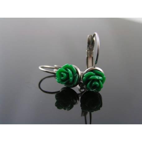 Green Flower Earrings, Stainless Steel