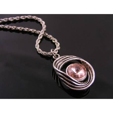 Abstract Necklace with Champagne Crystal