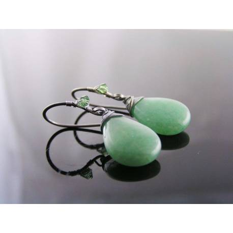 Wire Wrapped Earrings with Aventurine and Swarovski Crystals