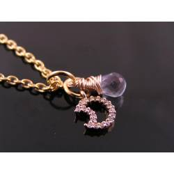 Tiny Rose Gold Crescent Moon Necklace