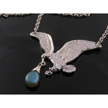 Large Eagle Necklace with Labradorite