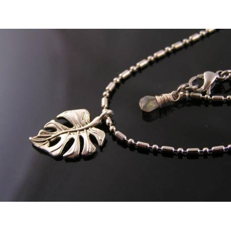 Leaf Necklace with Labradorite