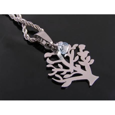 Tree of Life Necklace with Blue Topaz, Stainless Steel
