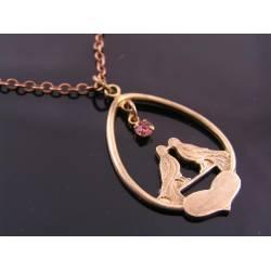 Romantic Initial Necklace, Pink Swarovski Crystal