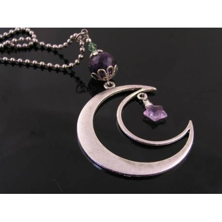 Large Crescent Moon Necklace with Amethyst Star Charm