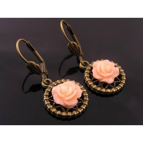 Pale Coral Flower Earrings
