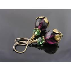 Czech Glass Bead Earrings, Purple and Green