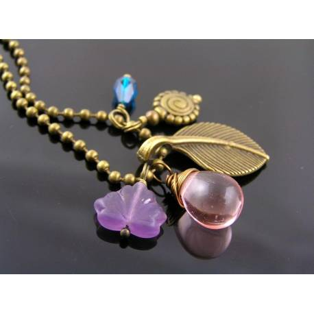 Leaf Necklace with Purple, Pink and Teal Czech Beads