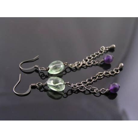 Fluorite and Amethyst Earrings