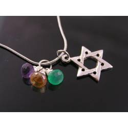 Star of David Necklace with Gemstones, Judaica Jewelry