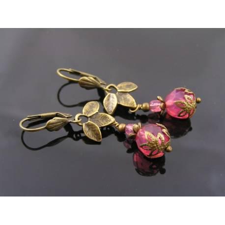 Padparadsha Pink Czech Bead Earrings