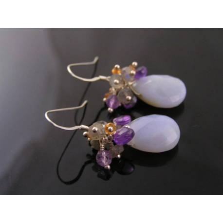 Natural Blue Chalcedony Earrings