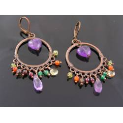 Amethyst Heart and Gemstone Chandelier Earrings