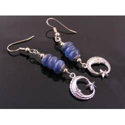 Blue Kyanite Crescent Moon Earrings