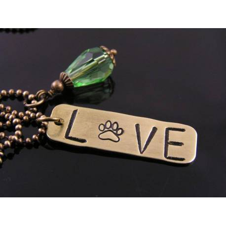 'Love my Pet' Hand Stamped Necklace with Crystal