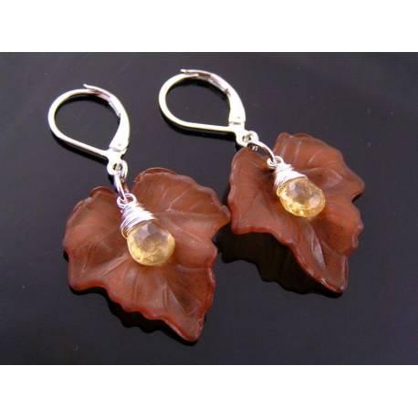 Brown Leaves and Citrine Earrings