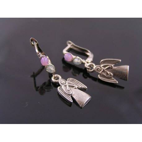Angel Charm Earrings, Wire Wrapped Lever Back Ear Wires