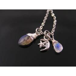 Tiny Crescent Moon Necklace with Labradorite and Moonstone