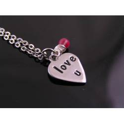 Love U - Hand Stamped Heart Necklace with Genuine Ruby Gemstone