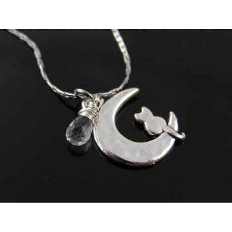 Cat in Moon and Aquamarine Necklace