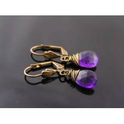 Wire Wrapped Purple Amethyst Earrings, February Birthstone