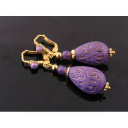 Wire Wrapped Ornate Purple Drop Earrings