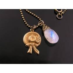 Rainbow Moonstone Necklace with Victorian Hat Charm