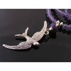 Silver Swallow Necklace, Purple Beads