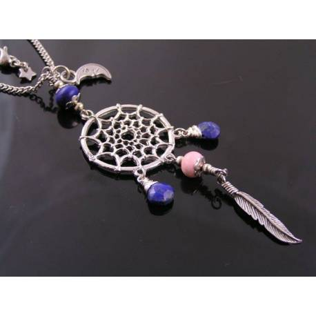 Dream Catcher Necklace with Lapis Lazuli and Rhodochrosite