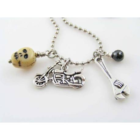 Motorcycle Charm Necklace with Repair Tool, Skull Bead and Black Cubic Zirconia