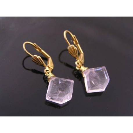Pink Amethyst Fancy Cut Gemstone Earrings