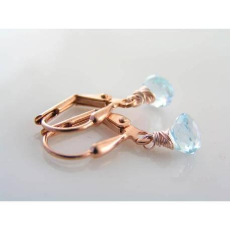 Blue Topaz Earrings, Rose Gold