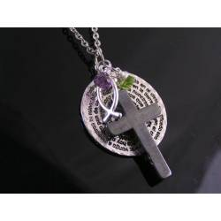 Our Father Prayer Necklace with Hematite Cross, Ichthus, Peridot and Amethyst