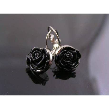 Black Flower Earrings, Sleeper Style