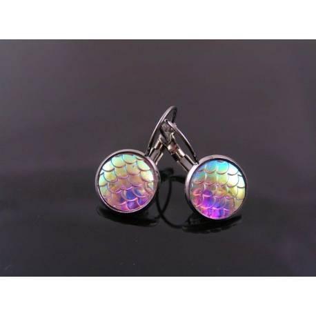 Sparkling Gunmetal Earrings, Sleeper Cuff Style