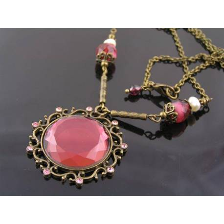 Victorian Style Burgundy Mirror Bead Necklace