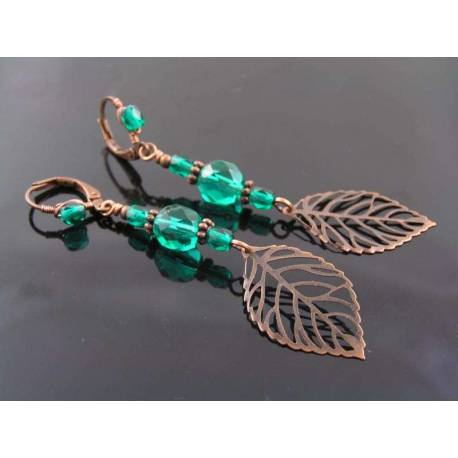 Copper Leaf Earrings with Green Czech Glass Beads