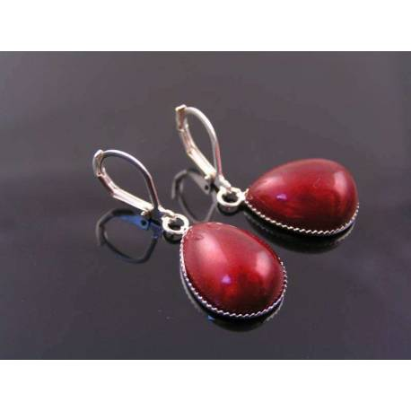 Teardrop Earrings with Vintage Red Inset