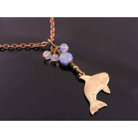 Whale Charm Necklace with Blue Kyanite and Moonstones
