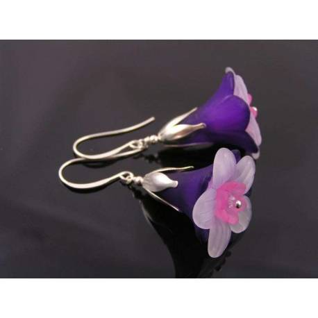 Large Lucite Flower Earrings, Purple and Pink