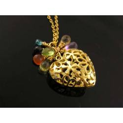 Filigree Heart and Gemstone Gold Necklace