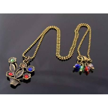 Cute Flower Pot Crystal Set Necklace