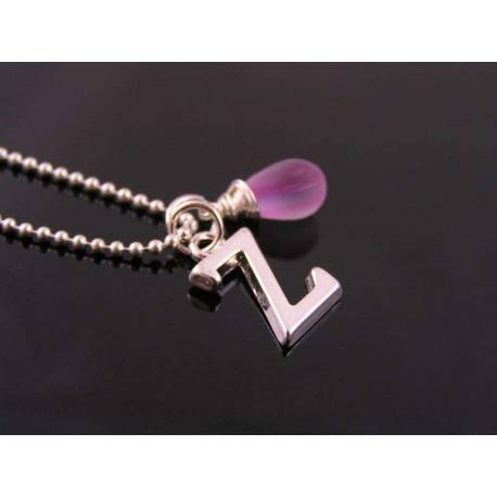 Initial Necklace, Purple Drop