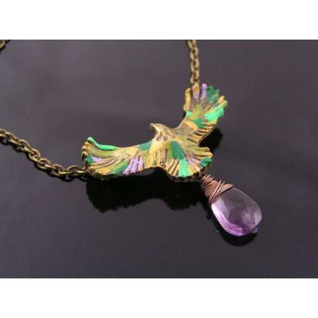 Hand-Coloured Eagle Necklace with Amethyst