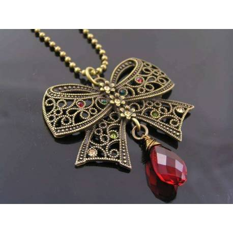 Crystal Set Filigree Bow Necklace