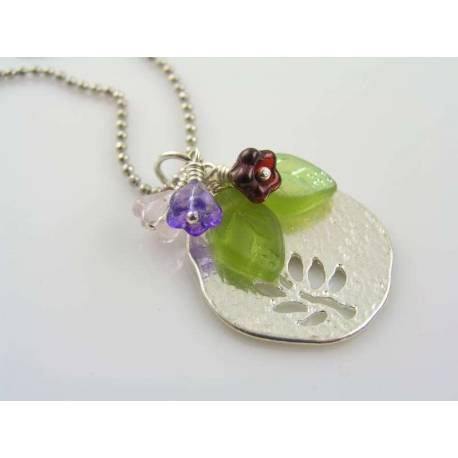 Tree Pendant with Czech Glass Leaf and Flower Dangles