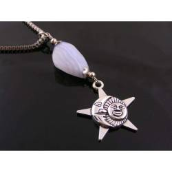 Blue Lace Agate Sun and Moon Necklace