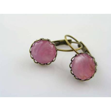 Pink Cabochon Sleeper Style Earrings