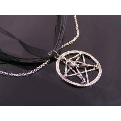 Gothic Necklace with Pentagram, Skeleton and Red Blood Drop