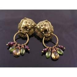 Large Lion Door Knocker Earrings with Garnet, Citrine and Peridot